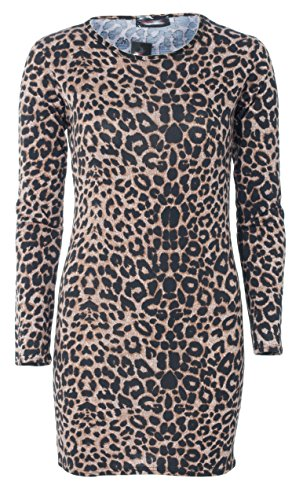Damen Uni Stretch Mini Figurbetontes Kleid Tunika Top Jersey Full Sleeve Größe 8–22 Gr. Plus Größe XXL, Leopard Print (Sleeve Leopard-print-kleid)