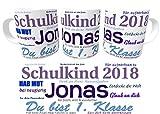 Kinderlampenland Namens-Tasse Schulkind 2018 zur Einschulung Jungen inkl. Geschenkverpackung