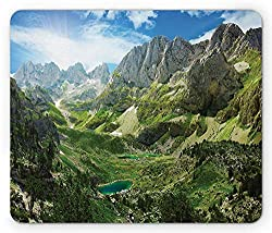 Drempad Gaming Mauspads, Mountain Mouse Pad, Mountain Lakes in Albanian Alps Nature Reserves Touristic Lakeside Picture, Standard Size Rectangle Non-Slip Rubber Mousepad, Green Blue White
