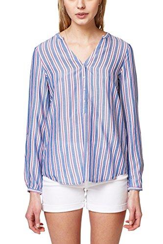ESPRIT Damen Bluse 038EE1F004, Mehrfarbig (Blue 430), 40 (Sleeve Shirt Long Henley Striped)
