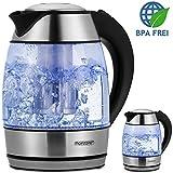 Monzana® Wasserkocher Teekocher Edelstahl Kocher Glas LED ✔BPA frei ✔kabellos