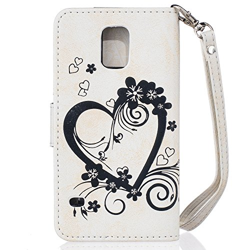 Qiaogle Téléphone Coque - PU Cuir rabat Wallet Housse Case pour Apple iPhone 6 Plus / iPhone 6S Plus (5.5 Pouce) - RX01 / Violet Love Heart Bouquet RX05 / Blanc Love Heart Bouquet