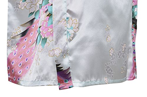 HonourSport-Kimono Japonais en Satin faux Sexy Robe de Chambre-Femme Azur