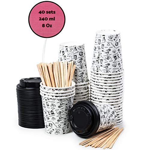 40 Vasos Desechables de Café Para Llevar - Vasos Carton 240 ml 8 Onza