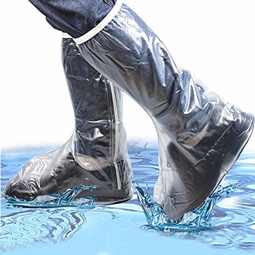 Bluelover Männer Frauen Regen Schuhe Cover Wasserdichte Hohe Stiefel Wohnungen Rutschfeste Überschuhe Regen Gear - 2XL (Schuhe Wohnungen Männer)