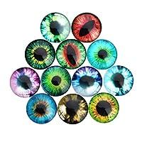 TOYANDONA 100pcs Dome Acrylic Cabochons Assorted Eyes Flatback Cabochons Rhinestone Embellishments for DIY Craft Jewelry Making Accessories 15mm