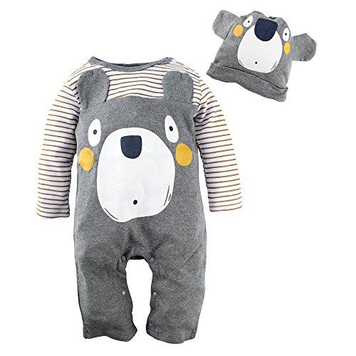 BIG ELEPHANT Baby Boys' Bear Long Sleeve Romper Pajama Clothes G82
