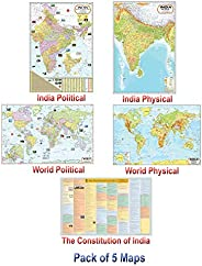 India & World Map ( Both Political & Physical ) & Constitution Chart | NON LAMINATED PAPER FOLDED