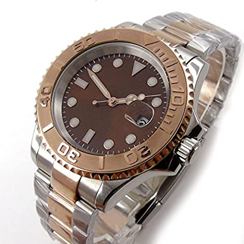 Parnis 40mm Ceramic Bezel Brown Dial Sapphire Crystal Date automatic