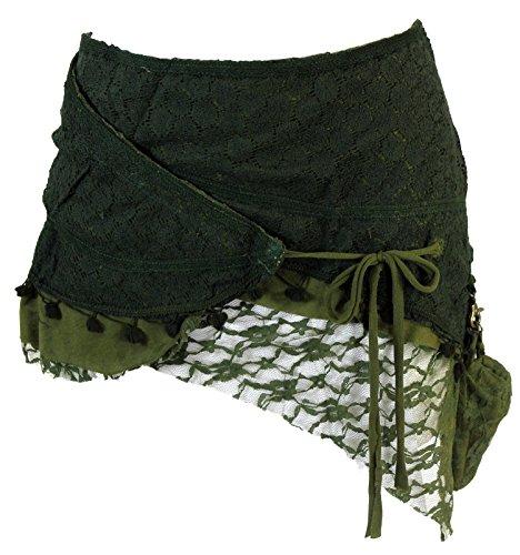 Guru-Shop Goa Minirock, Wickelrock, Cacheur, Damen, Grün, Baumwolle, Size:S/M (38), Cacheure/Hüftschmeichler Alternative Bekleidung (Alternative Kleidung)