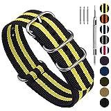 Fullmosa NATO 18mm 20mm 22mm 24mm Bracelet Montre pour Homme Femme, 10 Couleurs Montre Bracelet Nylon à Rayure avec Fermoir Métal Réglable, Noir + Jaune 22mm