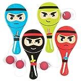 """Baker Ross Paddleballschläger """"Ninjas"""" für Kinder – Perfekt als Kleine Partyüberraschung für Kinder (4 Stück)"""