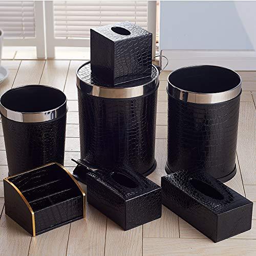 XYFL Abfallbehälter Aus Metall Mit Lederbezug, Offener Büro-Papierkorb, Doppelschicht-Mülleimer, Rund -