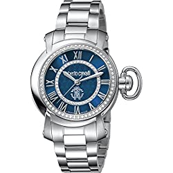 Roberto Cavalli: para mujer plateado reloj con esfera de color azul oscuro