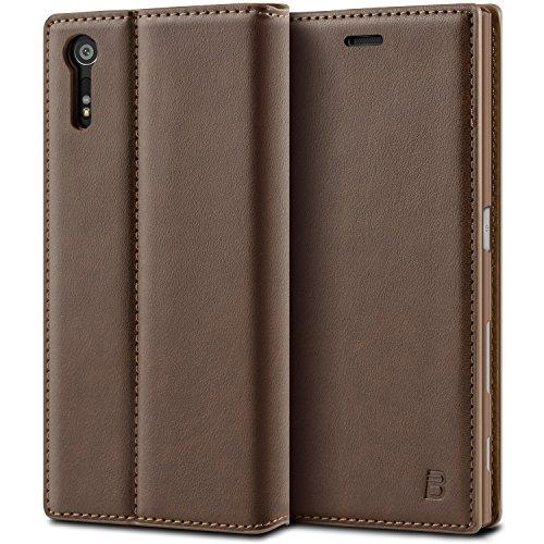 BEZ® Sony Xperia XZ / XZs Hülle, Handyhülle Kompatibel für Sony Xperia XZ / XZs Tasche, Flip Case Cover Schutzhüllen aus Klappetui mit Kreditkartenhaltern, Ständer, Magnetverschluss - Braun