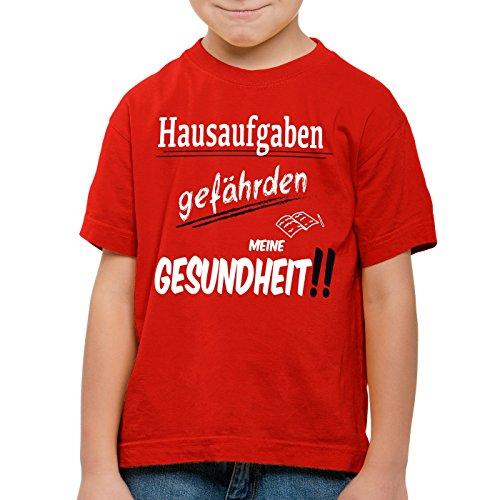 CottonCloud Hausaufgaben gefährden meine Gesundheit!! T-Shirt für Kinder Sprüche Gag Fun, Farbe:Rot;Größe:140 (Hausaufgaben-kinder-t-shirt)