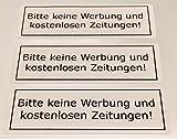 3x BITTE KEINE WERBUNG und kostenloses Zeitungen Aufkleber Briefkasten 29x90mm