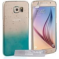 Yousave Accessories Regentropfen SchutzHülle für Samsung Galaxy S6–Blau/Transparent