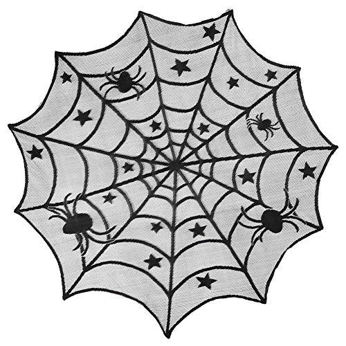 Tianzhiy Tablecloth Spinnennetz Tischdecke Halloween Cobweb Lace Tischdecke Runde Creepy Tischdecken für Halloween Partydekorationen - Halloween-tischdecke Runde