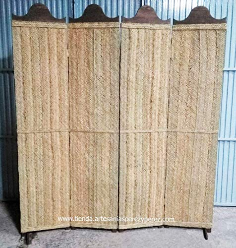 Biombo de esparto natural y madera 4 paneles