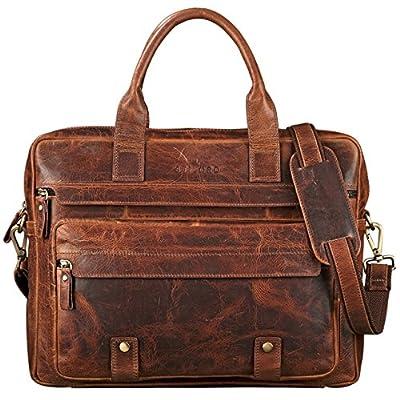 STILORD 'Leander' Grand Sac d'affaires en Cuir Besace pour Ordinateur Portable Sacoche à l'Épaule Serviette Bandoulière Unisexe Vintage
