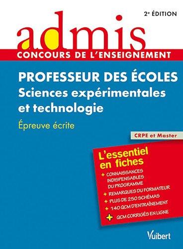 Concours professeur des écoles sciences experimentales et technologie
