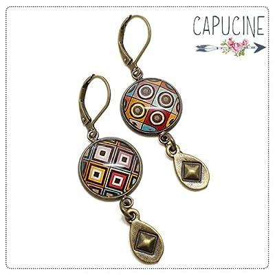 Boucles d'oreilles pendantes avec cabochon losanges et pois - Boucles d'oreilles pompons - Boucles d'oreilles dormeuses bronze - Damier