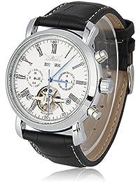 JARAGAR Relojes Mecánicos Automáticos De Hombre (Tourbillon Doble Calendario Reloj Pulsera, 122g, Plata)
