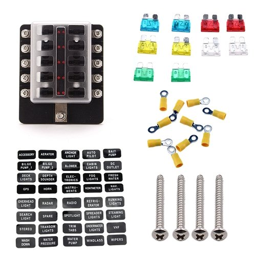 Preisvergleich Produktbild Zimo 10-Fach Auto KFZ Sicherungshalter mit LED Anzeige Plus 10 Mini KFZ Flachsicherung und 10 Schraubklemme Steckverbinder