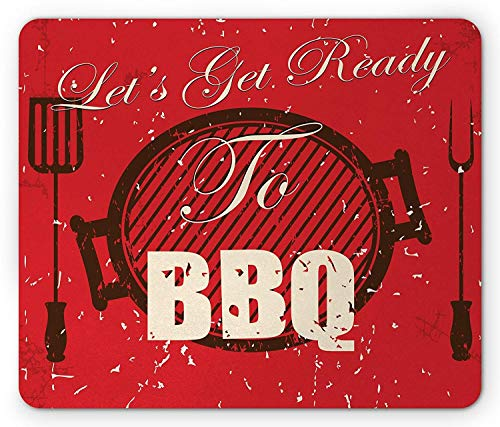 Drempad Gaming Mauspads, BBQ Party Mouse Pad, Lets Get Ready to BBQ Typography with Grunge Grill and Utensils, Rectangle Non-Slip Rubber Mousepad, Black Eggshell and Vermilion 9.8 X 11.8 INCH - Brust Grill