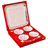 Indian Craft Villa Handmade Silver Plated Brass Bowl With Tray Set Of 9 Pieces . Can Be Use As Kitchenware And Eid,Holi,Diwali Gifting Purpose.