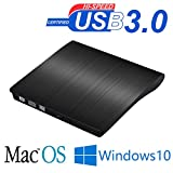 USB3.0 DVD-RW DVD/CD Brenner Slim Externes Laufwerk Portable DVD CD Brenner,Superdrive für alle Laptops/Desktop z.B Lenovo,Acer,Asus; PC unter Windows und Mac OS für Apple Macbook, Macbook Pro, MacbookAir, iMac (Schwarz)
