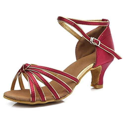 HIPPOSEUS Damen & Mädchen Sandalen Ausgestelltes Tanzschuhe/Ballsaal Standard Satin Latein Dance Schuhe,DE217-5,Dunkel+Rot,EU 39