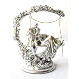 FunkyTradition Designer Valentine Anniversary Romantic Romeo Juliet Silver Couple On Swings Statue Figurine Idol Showpiece For Home Decor And Wedding Gifts