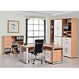 Arbeitszimmer Büromöbel MAJA SYSTEM 1297 Komplettset in Buche / Weiß Hochglanz 7-teilig