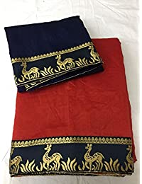 Rewa Enterprise Chanderi Sarees | Party Wear Sarees | Sarees With Blouse Piece | Colour - Red