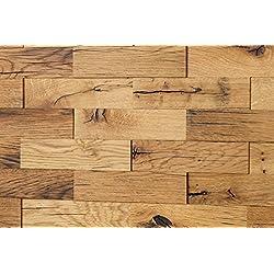 Wodewa Roble viejo - Madera auténtica para paneles de pared madera, revestimiento de paredes interiores (apariencia 3D, 200 x 50 cm)