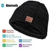 Bluetooth Beanie, Bluetooth Kopfhörer Mütze, Winter Strickmütze Unterstützt Musik hören und Anruf, Wiederaufladbare, Männern und Frauen, Einheitsgröße, Schwarz