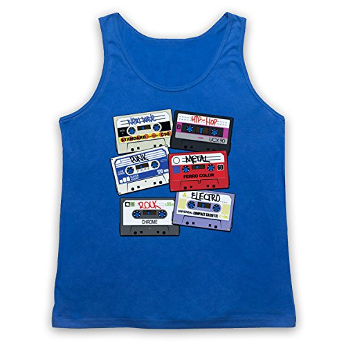 My Icon Art & Clothing Cassette Tapes Retro Mix Tape Camiseta de Tirantes, Azul Real, Small