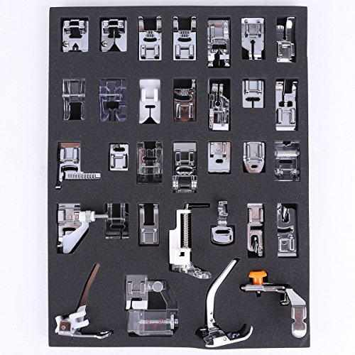 icase4u® Kit de 32 Piezas Multifuncional Piezas Prensatelas Accesorios para Máquina de Coser Presser Foot Feet Kit Machines Set