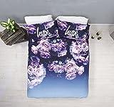 HYPE Duvet Cover Bedding Set | Purple Rose Design With Matching Pillow Cases | Hi Definition Print | 100% Cotton Super Soft Material (Double)