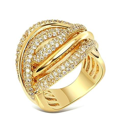 Daesar Damen Ring Vergoldet Verlobungsring Gold Ring mit Zirkonia Größe:62 (19.7)