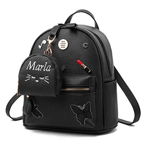 Flada ragazze zaino PU in pelle borse scuola zainetto carino bookbag borsa con piccolo gatto portafoglio nero
