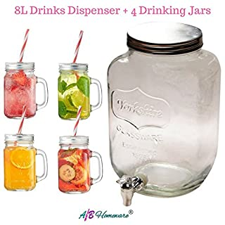 8L DRINKS DISPENSER WITH 4 DRINKING JARS AND STRAWS HOME PARTY PICNIC GARDEN BBQ DOUBLE DRINKS DISPENSER JUG