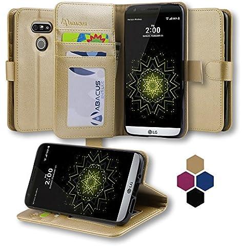 LG G5 Funda, Abacus24-7 LG G5 Funda Flip de Cuero Oro [Funda con Tapa] Soporte plegable y Bolsillos para Tarjete - Funda Cartera para Apple LG G5