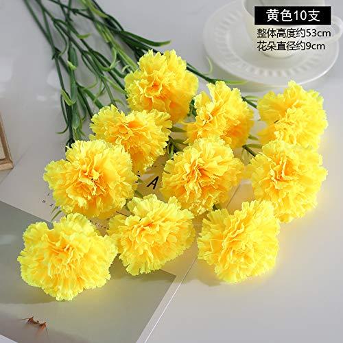DJYMOYIMO Nelke Künstliche Blumen Ornamente 10 Stück gelb - Dunkle Kirsche-tv