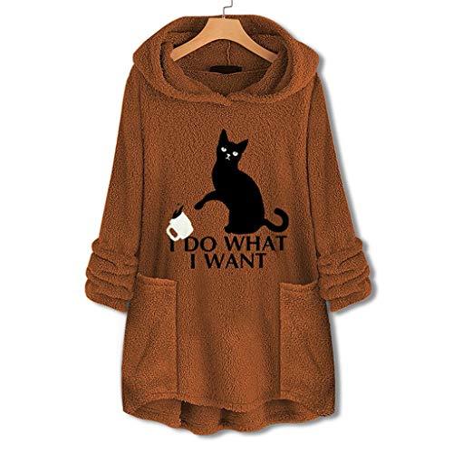 Pullover Sweatshirt für Damen,Kobay Halloween Heiligabend Weihnachten Christmas Frauen Plus Größen-Knopf-Plüsch-Oberseiten mit Kapuze lose Wollmantel-Winterjacke