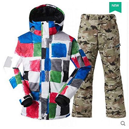 HXFNX Traje De Esquí para Hombres Chaqueta A Prueba De Viento + Pantalones Snowboard Cálido Espesar Ropa Pantalones Conjuntos Chaqueta Opciones, Color8