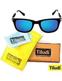 TILUDI Men's Blue Lens Wayfarer Sunglass (EYEWEAR041_M_Blue_Gold)