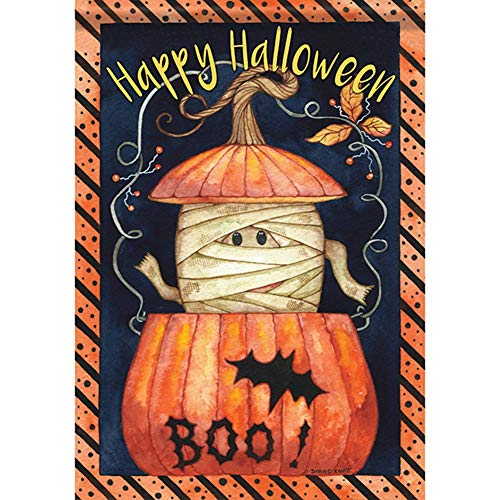 ASKYE Peek-A-Boo Mummy Halloween House Flag Happy Pumpkin Bat Double Sided for Party Outdoor Home Decor(Size: 12.5inch W X 18 inch H) (Bat Kit House)
